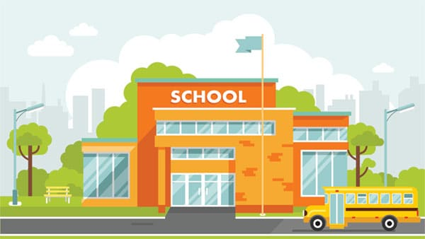 Illustration of school building with bus in front.