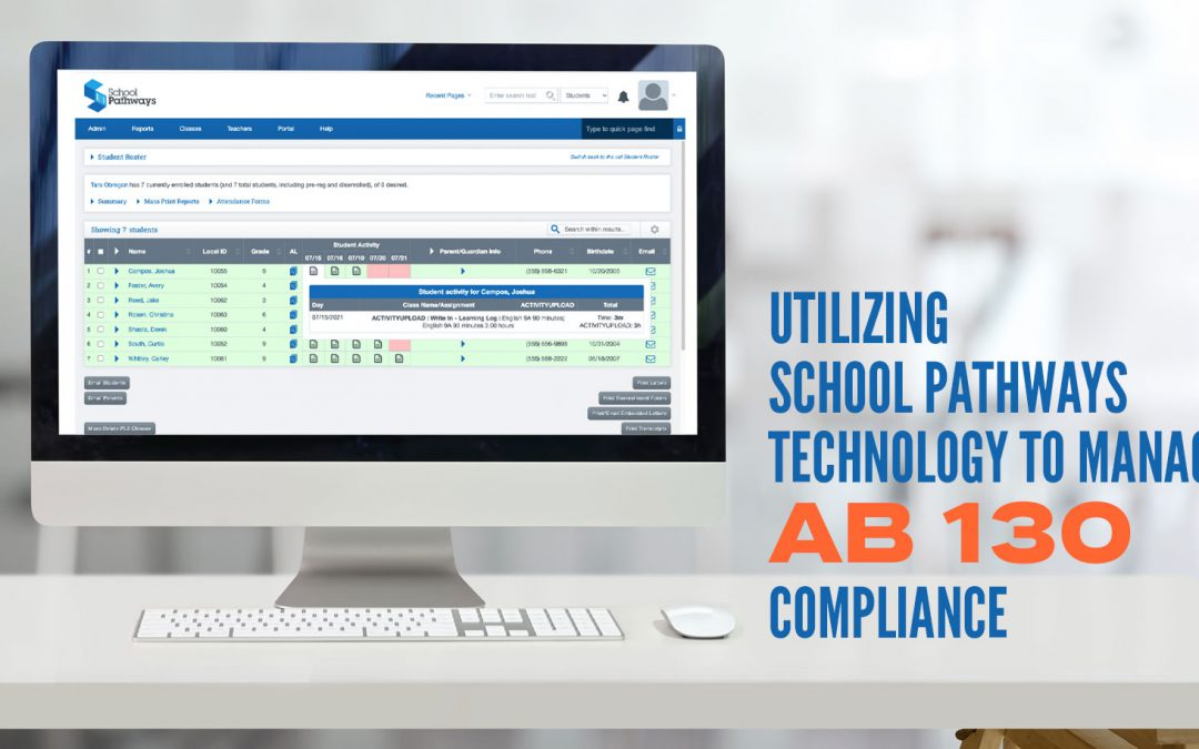 Computer screen with School Pathways program page.